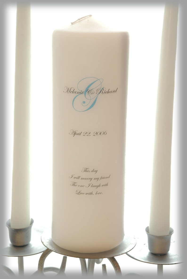 Personalized Unity Candle with Monogram wedding candles image 0