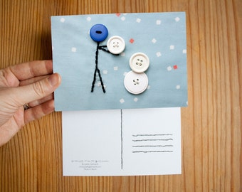 Mr.Buttonman Snowman Christmas Postcard, Christmas Card, Embroidered Card, Snow, Buttons