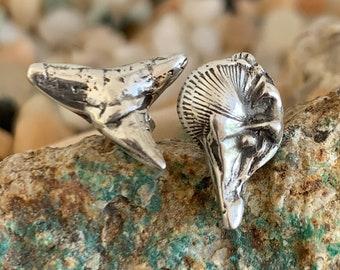 Mini Shark Tooth & Shell Earrings