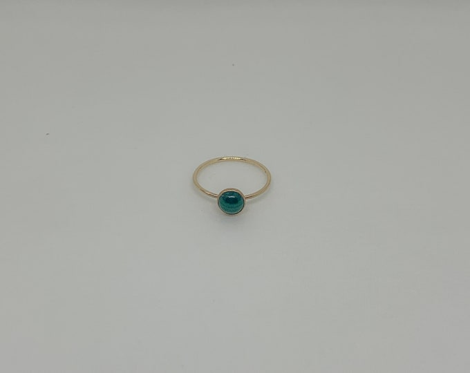 Gold Malachite Solitaire Ring