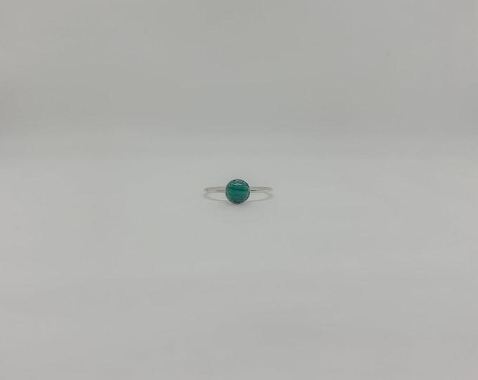 Silver Malachite Solitaire Ring
