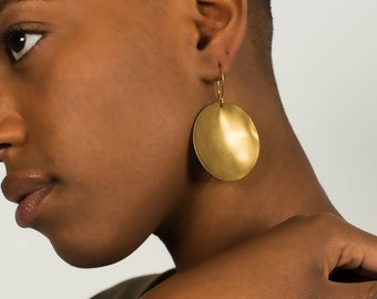 Brass Crater Earrings