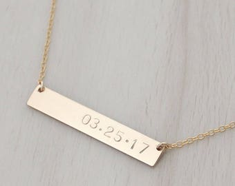 Date Bar Necklace - Date Necklace - Personalized Gold Bar Necklace - Gold Name Bar - Silver Bar Necklace - Engraved Bar Necklace