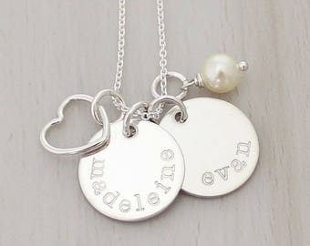 "Two Name Necklace - Kids Name Necklace - Mom Necklace - Gift for Mom - Personalized 5/8"" Discs - Custom Hand Stamped Necklace"