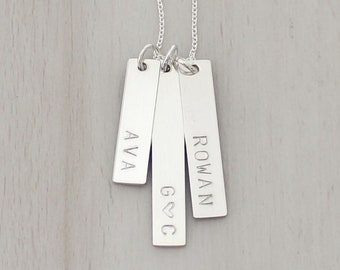 Three Vertical Bars Necklace in Gold or Silver - Personalized Three Name Necklace - Gold Name Necklace - Mom Necklace - Gift for Mom