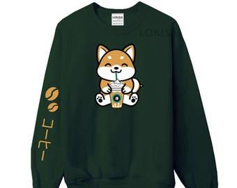 Coffee Frappe Shiba Inu Crewneck Sweater