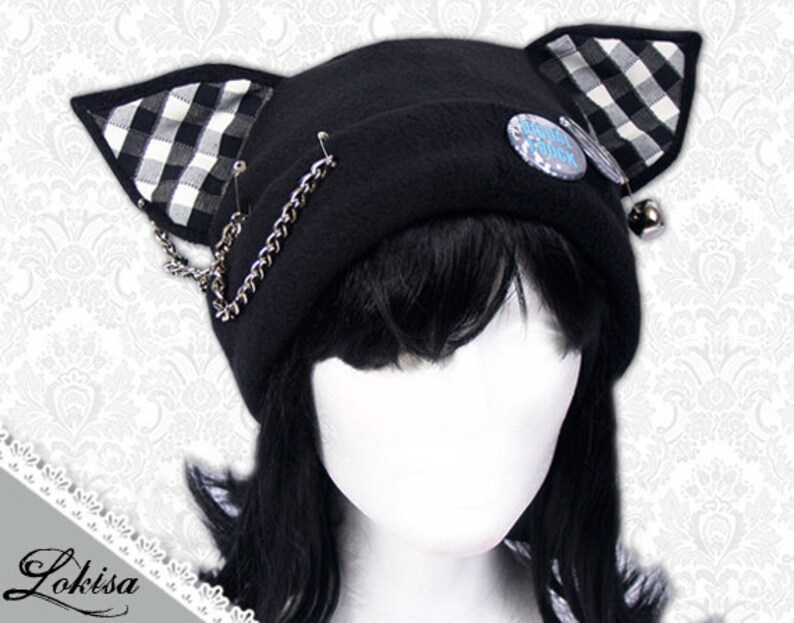 654b7ea7c1c Cat Kitty Fleece Hat Anime Cosplay Punk JRock Checkered