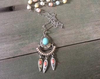 Pastel Summer Necklace/Long Necklace/Southwestern/Tribal