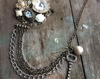 Flower and Key Necklace, Statement necklace, Victorian necklace, Edwardian