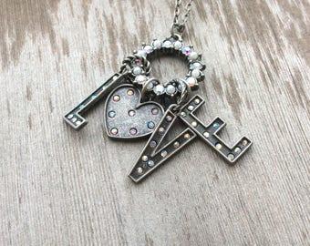 Love Charm Necklace/Long Necklace/Love/Boho/Trendy
