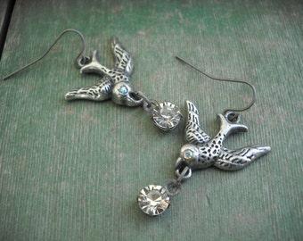 Bird in Flight Earrings/Dangle/Boho/Hippie