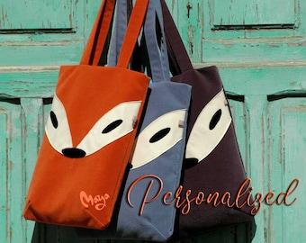 Tote Bag, Fox Tote Bag, Personalized Bag, Handmade Tote Bag, Laptop Bag, Handbag, Shoulder Bag, Hipster, Gift For Her, Textile Art