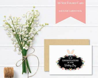 Wedding Card Congratulations | Bridal Floral Signage with Champagne Glasses | WED048 | Wedding Day Card | Greeting Card |