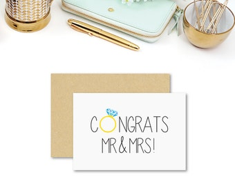 Wedding Card | Wedding Day Card | Congrats Mr and Mrs | WED041 | Wedding Card Congratulations Card Wedding | Handmade Card | Wedding Ring