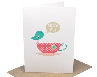 Thinking Of You Card | Sympathy Card | Bereavement Card | Turquoise Birdie with Pink Teacup Card | Greeting Card | Condolence Card | WDS018