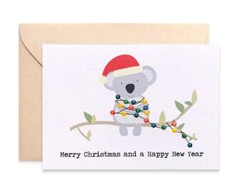 Christmas cards etsy au christmas card australia koala with christmas lights koala card australian card australian christmas xms036 merry christmas card m4hsunfo