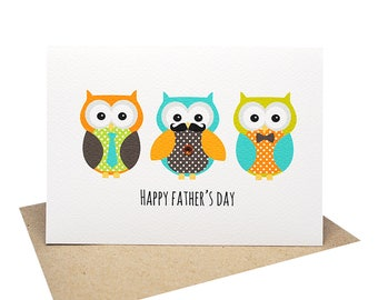 owl fathers day card etsy