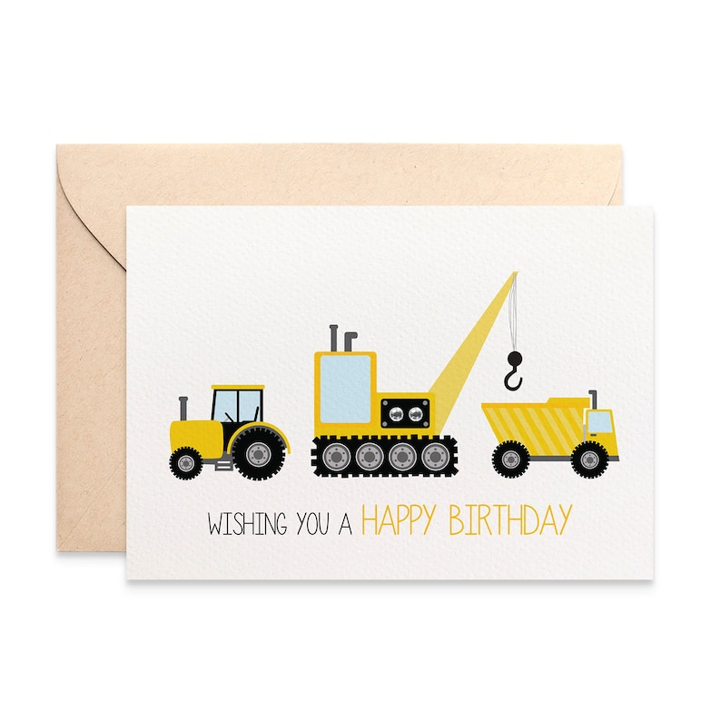 Birthday Card Boy Happy Construction