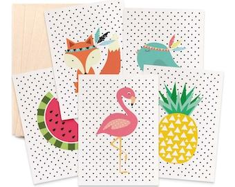 Blank Card Pack, Set of 5 Cards, Blank Card Set, Flamingo Card, Fox Card, Pineapple Card, Bird Card, Watermelon Blank Card,  5P018