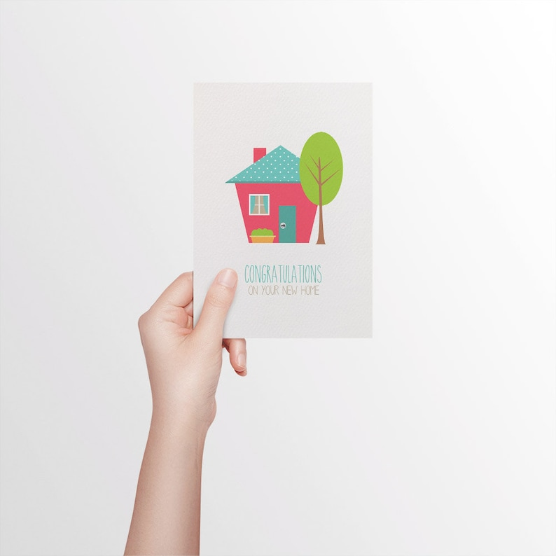 Moving House Card Bright House with Tree MOV010 Congratulations on Your New Home Card Card House Warming Card Handmade Card