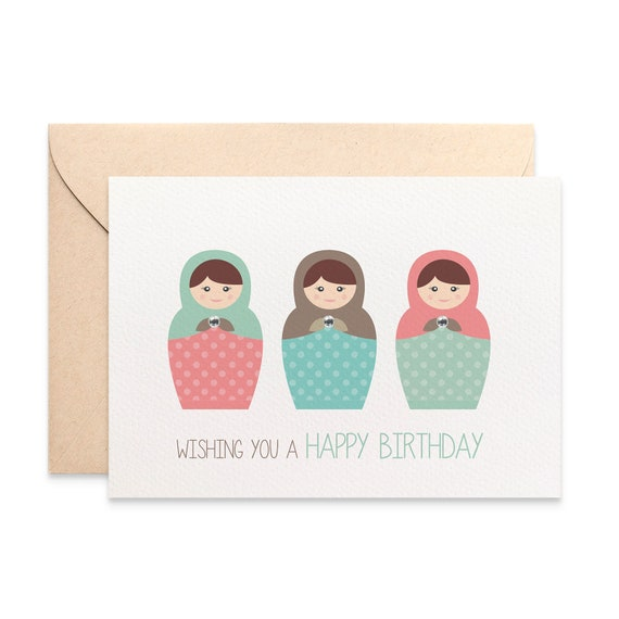 Birthday Card Female Russian Dolls Happy