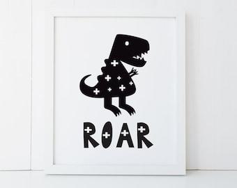Wall Print Boys Room - 8 X 10 - Monochrome Dinosaur Roar - PRI014 - Wall Art for a Boy's Bedroom, Baby Nursery - Home Decor