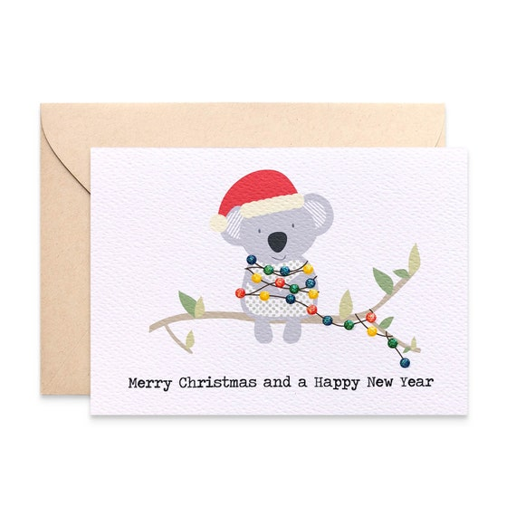 Christmas card australia koala with christmas lights koala etsy image 0 m4hsunfo