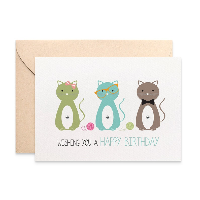 Cat Birthday Card Female Kitty Cats Lover Happy