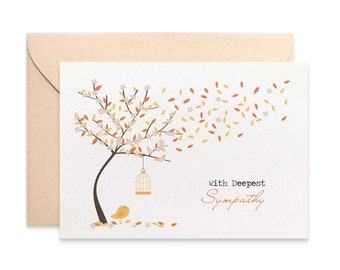 Sympathy Card, Thinking of You Card, Bereavement Card, Orange Fall Autumn Tree, Condolence Card, Sorry Card, Card Sympathy, WDS017