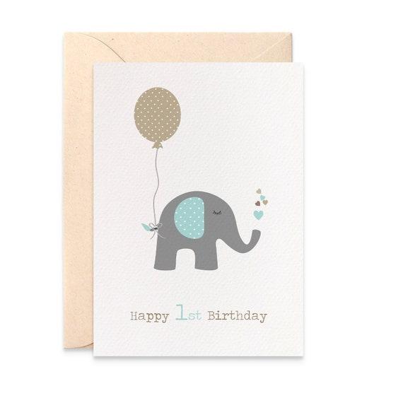 1st Birthday Card Boy First Birthday Card Elephant With Blue Etsy