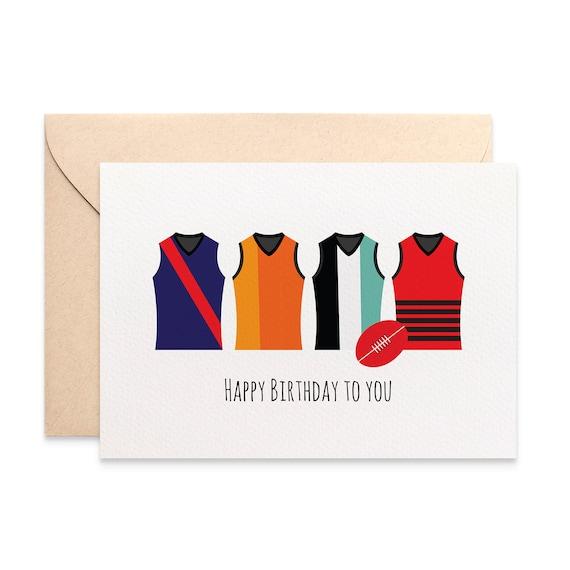 Birthday Card Male Birthday Card Footy Card Afl Footy Etsy