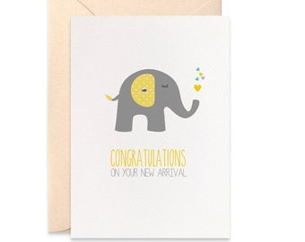 Neutral New Baby Card, Congratulations on Your New Arrival Card, Grey and Yellow Elephant Card, Neutral Baby Card, Card for New Baby, BBY005