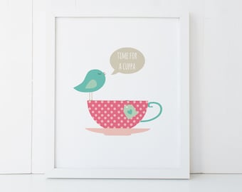 Wall Print Kitchen or Office - 8 X 10 - Bird on a Tea cup - Time for a Cuppa - PRI020 - Wall Art for the Home Decor - Tea Lover