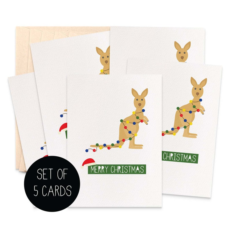 Christmas Kangaroo Lights.Kangaroo With Christmas Lights Set Of 5 Christmas Card Pack Australian Christmas Cards Merry Christmas Cards Aussie Cards 5p021
