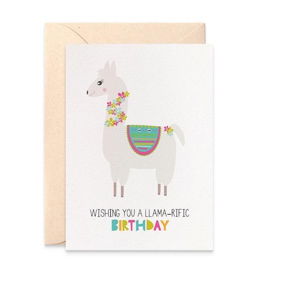 Llama Birthday Card Girl Llama Card For Birthday Card For Birthday Girl Happy Birthday Card Girl Birthday Card Llama Greeting Card Hbc249