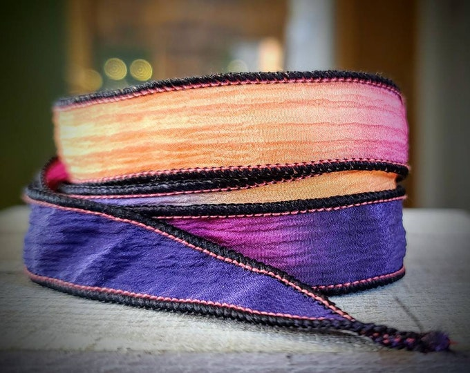 Featured listing image: Hand Dyed Silk Wrap Bracelet