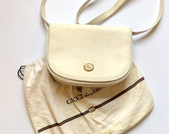 ff437802600 Vintage 1980s Authentic Anniversary Collection White Canvas and Leather  Mini Monogram Gucci Crossbody with Dust Bag