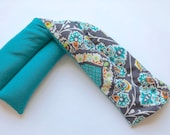Teal Boho Organic Long Neck Wrap Lower Back Pad - Rice Hot Cold Pack - Large Flax Heat Pad - Corn Pad for Shoulders - Unscented Spa Wrap