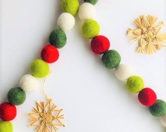 Customizable Christmas Felt Ball Garland - Red, Greens & White Wool Banner - Wool Pom Pom Christmas Tree Trimming Garland - Fireplace Mantel