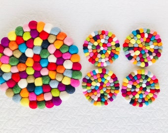 Felt Ball Coaster Multi Color Round Tea Coaster festival Gifts for Her Pom Pom Ball Coaster Set of 4 Coasters  Kitchen Decor