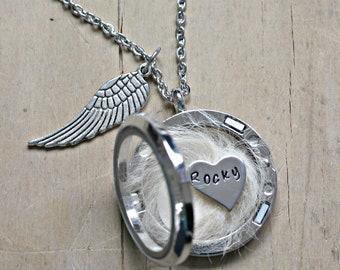 Pet memorial gift, Lock of Hair Keepsake, Pet loss Necklace, Dog Hair Memorial, Loss of a Pet, Memorial Jewelry, Cremation Urn Locket Ashes