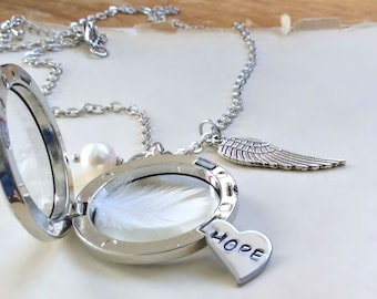 Hope Necklace, Hand stamped Jewelry, Floating Locket, Hand Stamped Necklace, Memory Locket, Word Necklace, Keepsake, Angel Wing Necklace