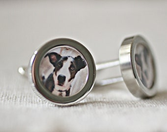 Dog Dad Gift, Personalised Pet Cufflinks, Dog Lovers Gift, Pet Photo Cuff links For Him Boyfriend Gift, Custom Cufflinks, Father's Day Gift
