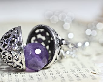 Wish Box Necklace, Amethyst Necklace, Antique Silver Orb Necklace, Ball Locket, Bali Jewelry, Angel Caller, Harmony Ball, Amethyst Pendant