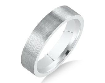 Men's Stainless Steel Flat 6mm Brushed Comfort Fit Wedding Band Ring