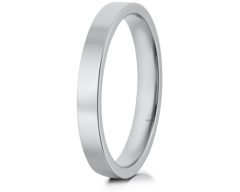 3mm Sterling Silver Flat Wedding Band Comfort Fit  Ring Sizes 4-13.5 Made in the U.S.A.