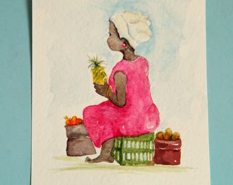 African fruit seller,  original watercolor painting in small format art