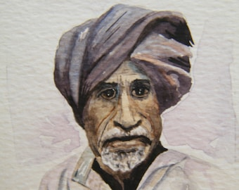 Small watercolor male portrait,  original painting on art card or aceo