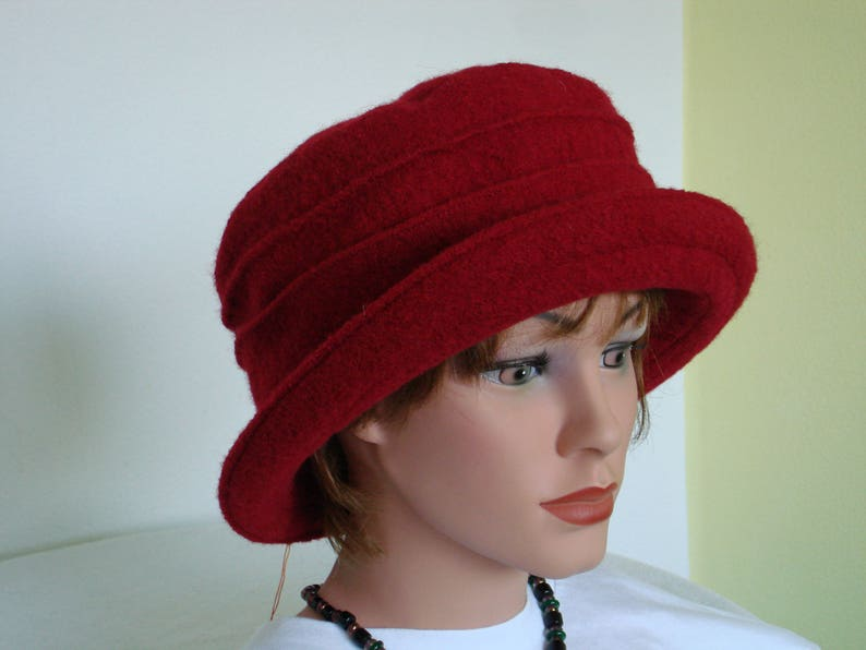 Boiled Wool Hat Womans Hat red Hat with Brim Bucket Hat Wool Hat Winter Hat Formal Hat- 20 colors  every size