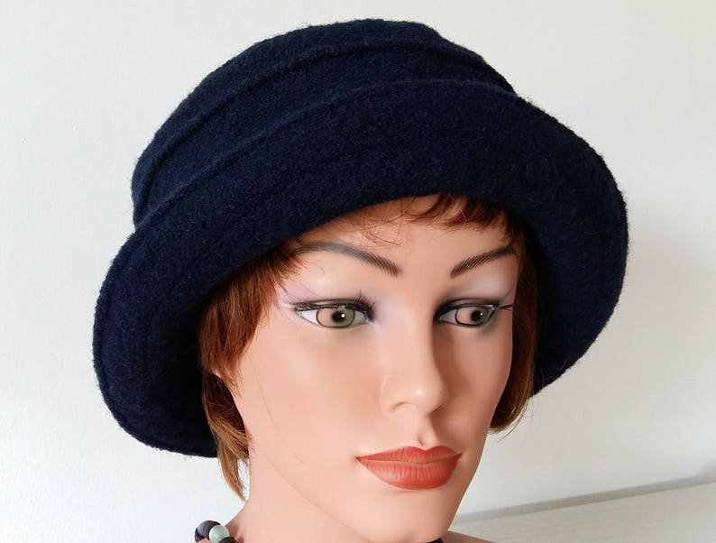 Hat black Hat Bucket Hat boiled wool blue Womans Hat  5e933ff80916